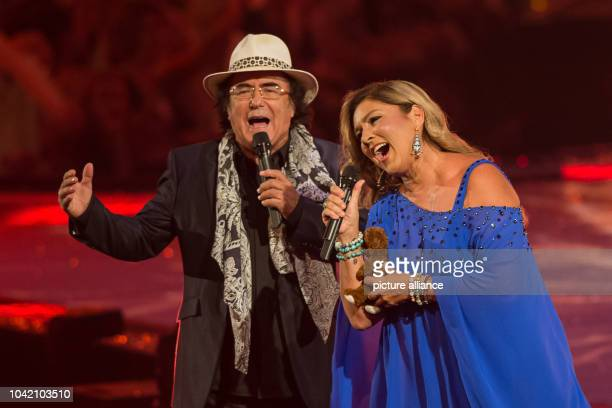 Schlager singer duo Albano Romina Power performing during the shooting of the TV show 'Schlagerboom Das internationale Schlagerfest' at...