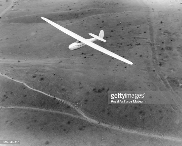Schleicher Rhonbussard glider in flight Dunstable 1938