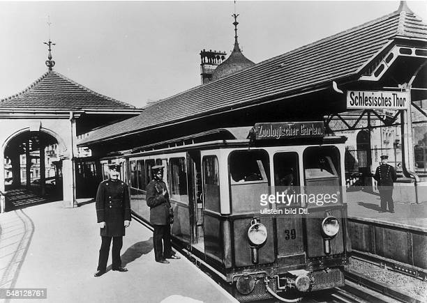 BERLIN UBAHN 1902 Schlesisches railroad station at the zoological gardens in Berlin At right is conductor Martin Dibobe of Cameroon Photograph 1902