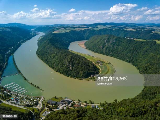schloegener schlinge, danube, upper austria - linz stock pictures, royalty-free photos & images