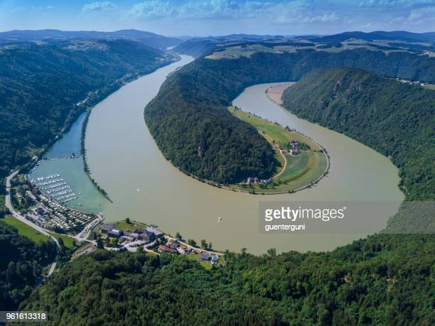 schloegener schlinge, danúbio, áustria - rio danúbio - fotografias e filmes do acervo
