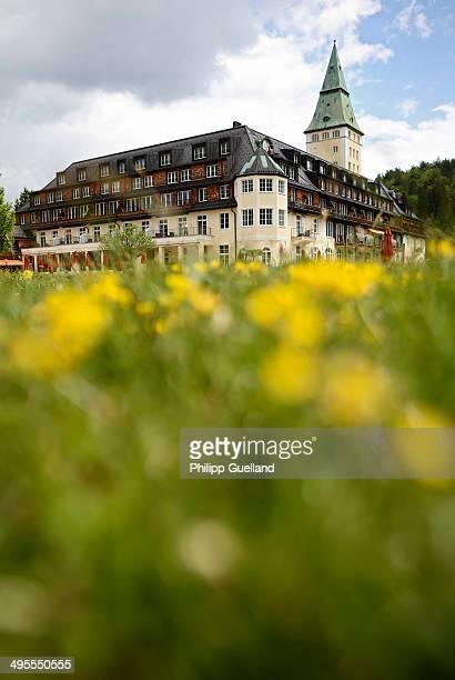 Schloss Elmau, a luxury spa hotel, stands in the Bavarian Alps of southern Germany on June 3, 2014 in Kruen near Garmisch-Partenkirchen, Germany....