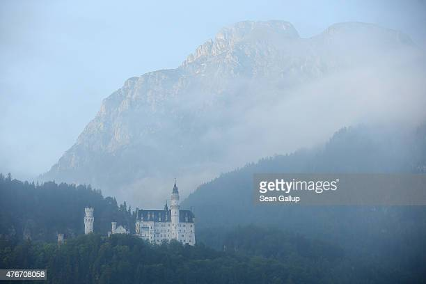 Schloss Neuschwanstein castle stands in the early morning on June 11 2015 near Hohenschwangau Germany Schloss Neuschwanstein built by Bavarian King...