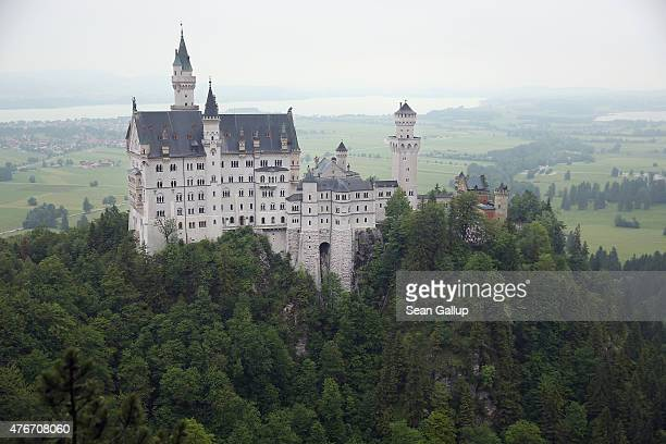 Schloss Neuschwanstein castle stands on June 10 2015 near Hohenschwangau Germany Schloss Neuschwanstein built by Bavarian King Ludwig II also known...
