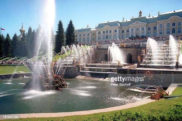 "Schloss ""Petershof"", bei St. Petersburg, , Russland, Europa, Springbrunnen, Park, vergoldete Statuen, Teich, Wasser, Reise,"