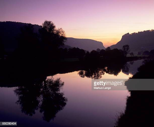 Schloss Werenwag Castle and Danube River at sunset, Danube Valley, Upper Danube Nature Park, Swabian Alb, Baden Wurttemberg, Germany, Europe