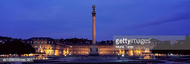 schlossplatz square with the new palace (neu schloss) and the king wilhelm jubilee column. - castle square stock pictures, royalty-free photos & images