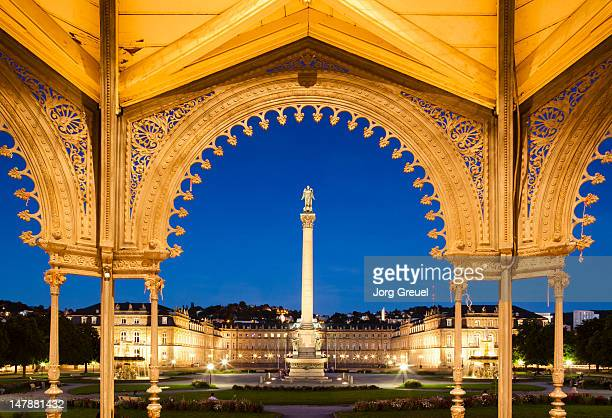schlossplatz with new palace at dusk - stuttgart stock pictures, royalty-free photos & images