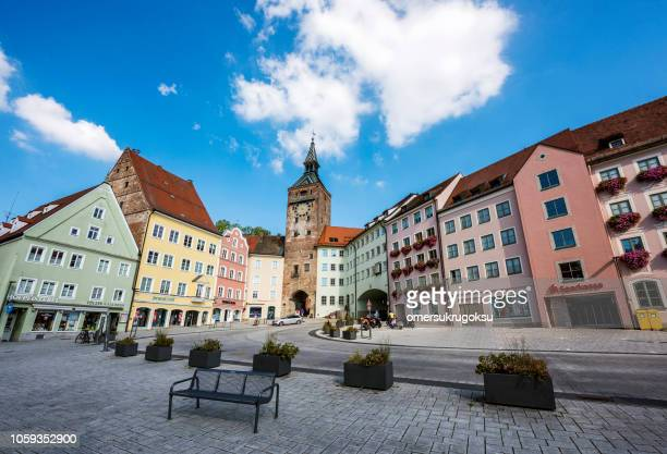 schmalztor in landsberg, germany - landsberg am lech stock pictures, royalty-free photos & images