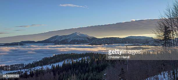 schneeberg mountain and the schneealm alpine pasture, sunset, thal, pernitz, lower austria, austria - thal austria stock-fotos und bilder
