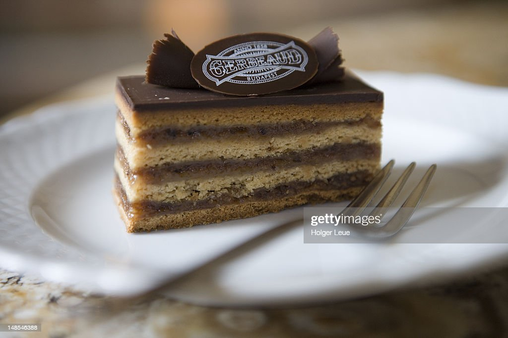 Schnitte cake at Gerbeaud Cafe. : Stock Photo