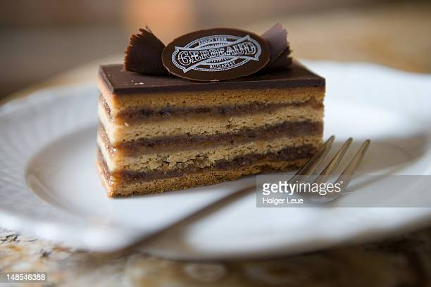 schnitte cake at gerbeaud cafe. - budapest stock pictures, royalty-free photos & images
