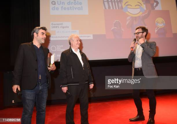 Schnock Magazine editor in chief Laurence Remila and actor Daniel Prevost attend 'Les Chinois A Paris' A Jean Yann movie Screening and Tribute to...