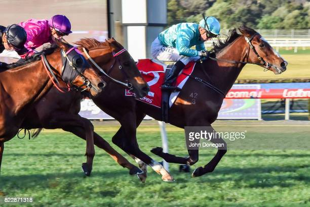 Scholarly ridden by Stephen Baster wins the Le Pine Funerals Handicap at Ladbrokes Park Hillside Racecourse on July 26 2017 in Springvale Australia