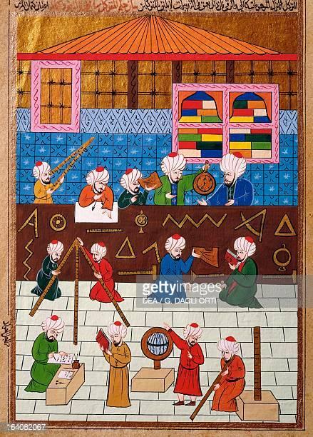 Scholars and astronomers in the observatory of Galata tower Ottoman miniature manuscript Turkey 16th century Istanbul Istanbul Universitesi...