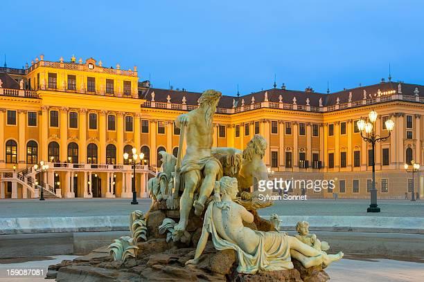 Schonbrunn Palace, Vienna, at dusk