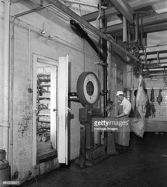 Schonhut's butchery factory Rawmarsh South Yorkshire 1955 showing an 800LB weighing scale 1955 View inside Schonhut's butchery factory in the village...
