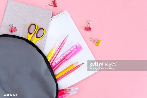 school, bag, backpack. - fully unbuttoned stock pictures, royalty-free photos & images