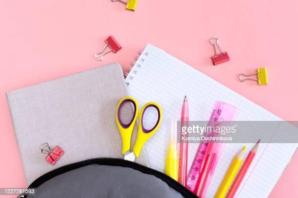 school, bag, backpack. - schulbedarf stock-fotos und bilder