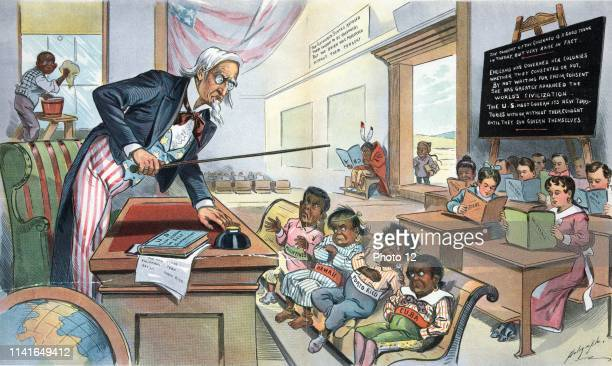 School begins by Louis Dalrymple 18661905 1899 chromolithograph Print shows Uncle Sam as a teacher standing behind a desk in front of his new...