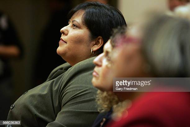 School Board President Monica Garcia listens as Superintendent David L Brewer III announces at a press conference that he is asking the LAUSD school...