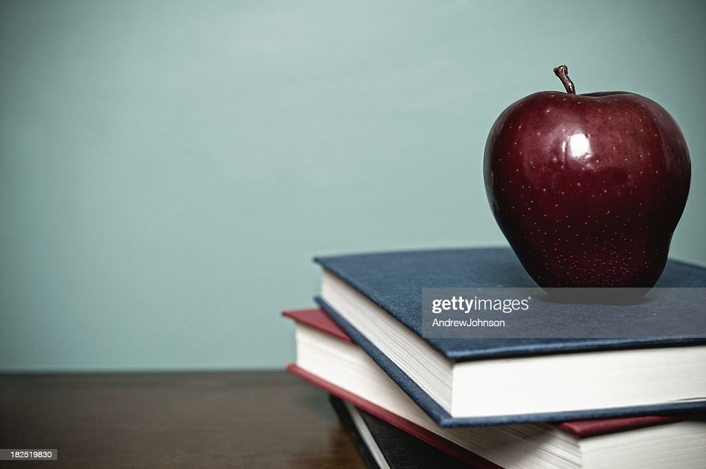 School Books and Red Apple : Stock Photo