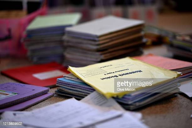 School books and revision aids as used by year eleven student Tilly Mason on March 21 2020 in Brixworth United Kingdom Pupils around the country have...
