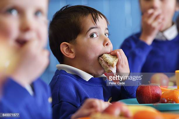 school boy eating sandwich - lunch stock pictures, royalty-free photos & images