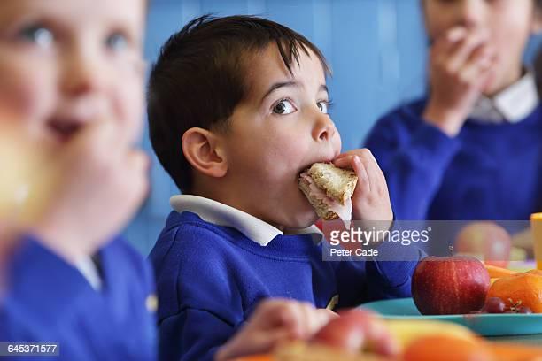 School boy eating sandwich