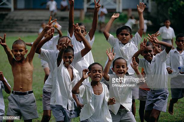 School Boys Cheering in Victory
