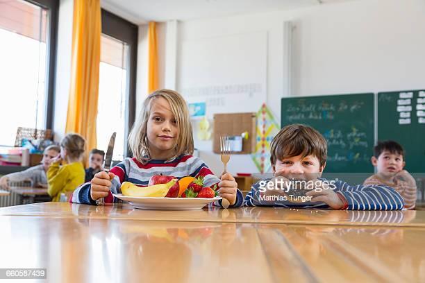 school boys having their lunch