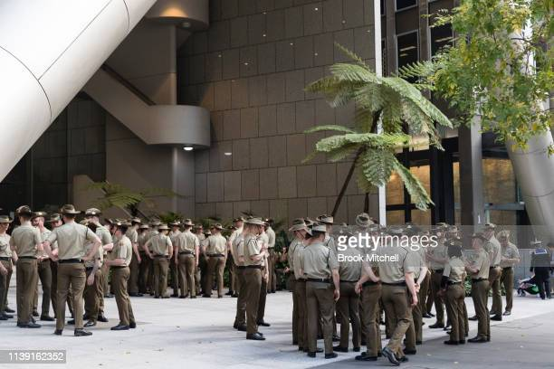 School boys prepare for the ANZAC Day March on April 25 2019 in Sydney Australia Australians commemorating 104 years since the Australian and New...