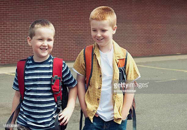 School boys walking and talking