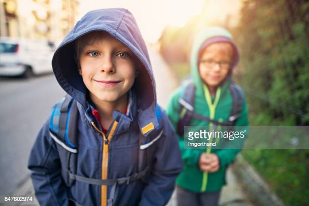 School boys walking to school