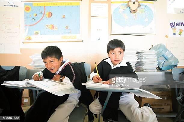 school boys (6-7) wearing traditional ecuadorian costume, ecuador - hugh sitton bildbanksfoton och bilder