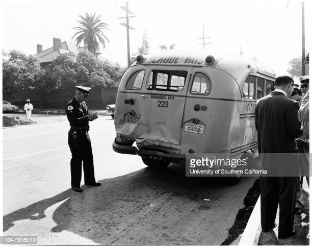 School bus accident at Cimarron and West Adams 17 June 1958 Darlene Kelly 7 yearsEvelyn Keel nurse_Frank Peterson 6 yearsDavid Rosner 9 yearsLowell...