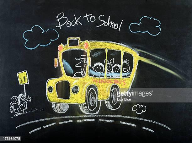 スクールバスの図面 - interracial cartoon ストックフォトと画像