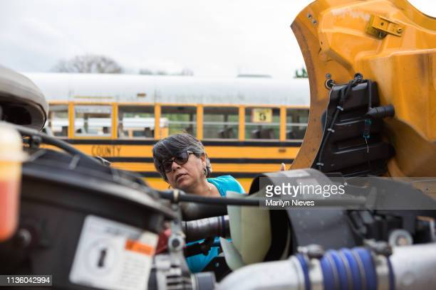 """school bus driver doing safety check - """"marilyn nieves"""" stock pictures, royalty-free photos & images"""