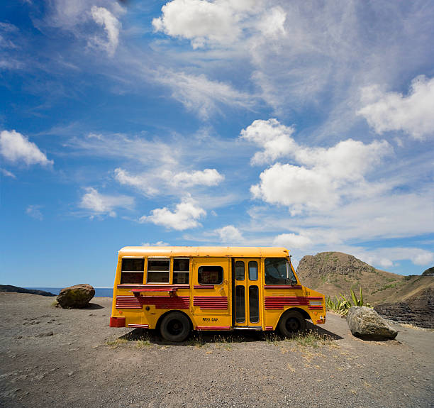 School bus on beach
