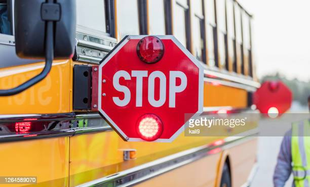 school bus stop sign - school bus stock pictures, royalty-free photos & images
