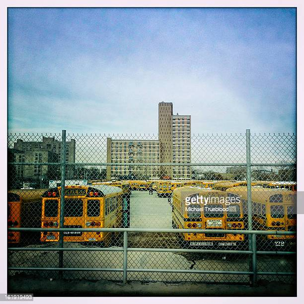 School buses sit on the lot at Coney Island two weeks after Hurricane Sandy.