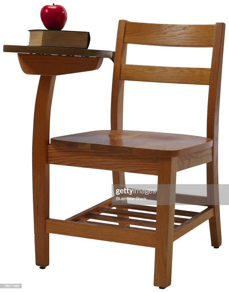 School Chair With Textbook And Apple High-Res Stock Photo ...