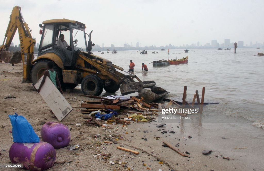 Beach Clean-Up Drive Organized A Day After Ganpati Immersion In Mumbai