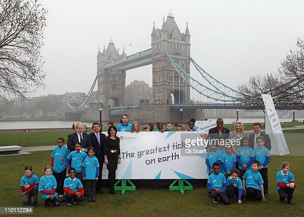 School children are joined by Boris Johnson the Mayor of London former gymnast Nadia Comaneci Lord Sebastian Coe former track and field athlete Carl...