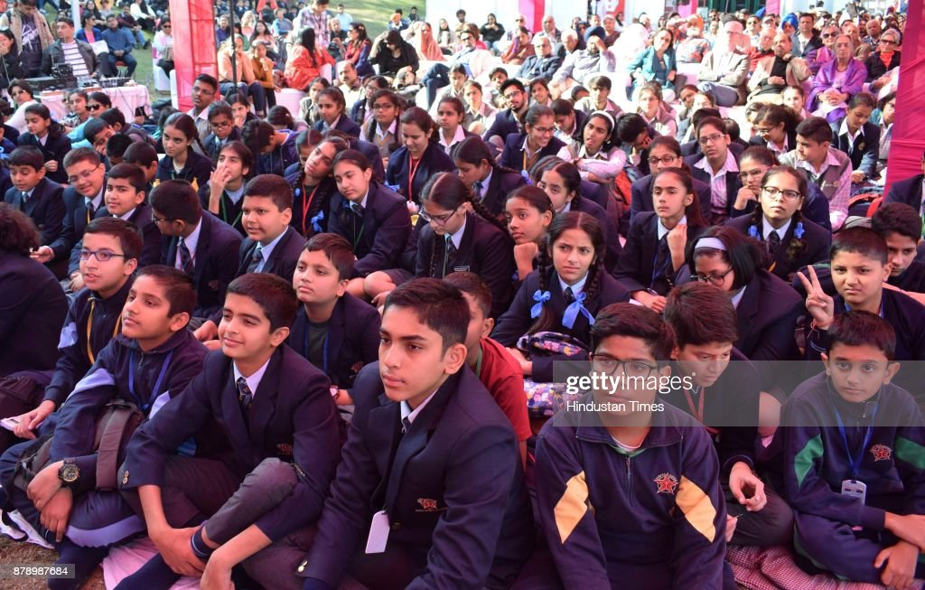 School children at Chandigarh Literature Festival 2017 at Lake Club on November 25 2017 in Chandigarh India