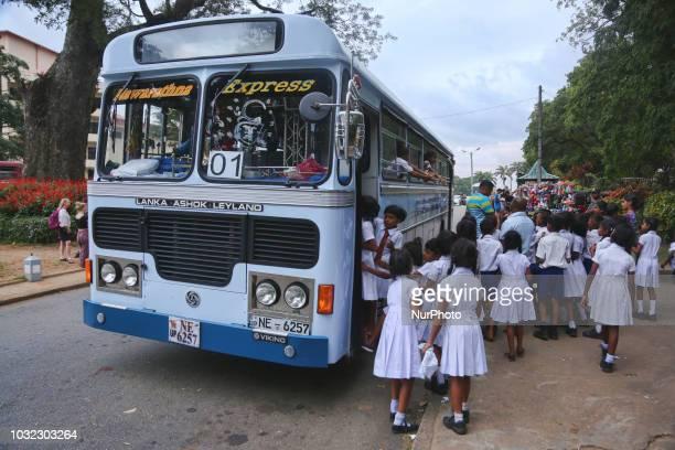 School children attend a field trip to the Royal Botanical Gardens in Peradeniya Sri Lanka The Royal Botanical Gardens is located to the west of the...