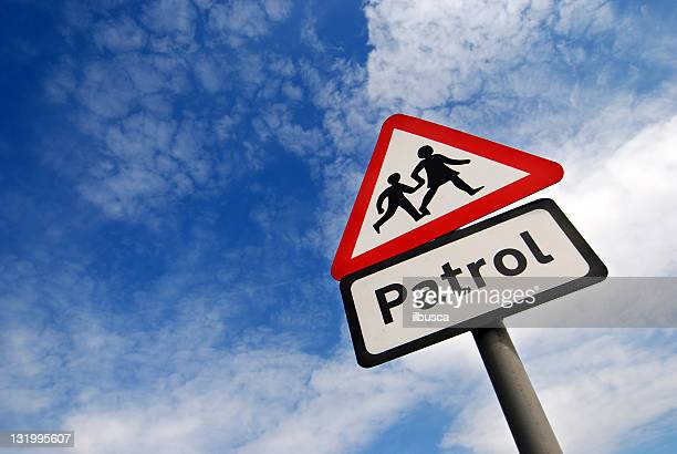 School children crossing sign with copy space
