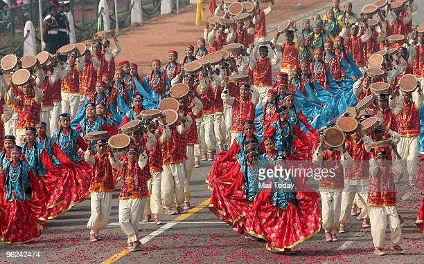 School Children dancing at the Rajpath during the final full dress rehearsal for the Indian Republic Day parade in New Delhi on Saturday