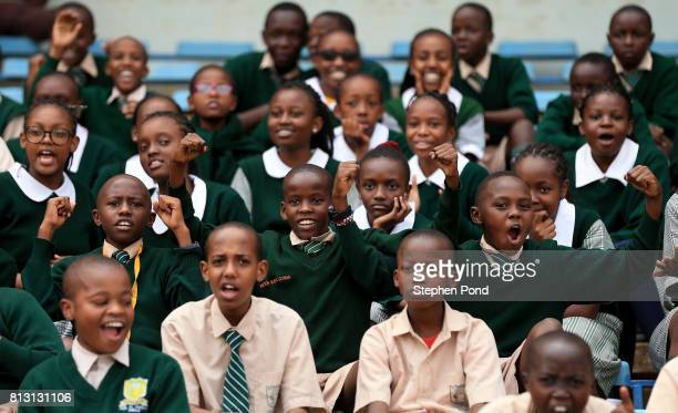 School children enjoy the atmosphere during day one of the IAAF U18 World Championships on July 12 2017 in Nairobi Kenya