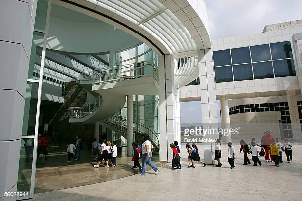 School children enter the Museum Entrance Hall at the Getty Center October 28 2005 in Los Angeles California The J Paul Getty Museum's recently...